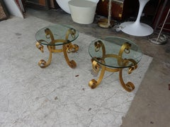 Pair Gilt Italian Style Wrought Iron Side Tables
