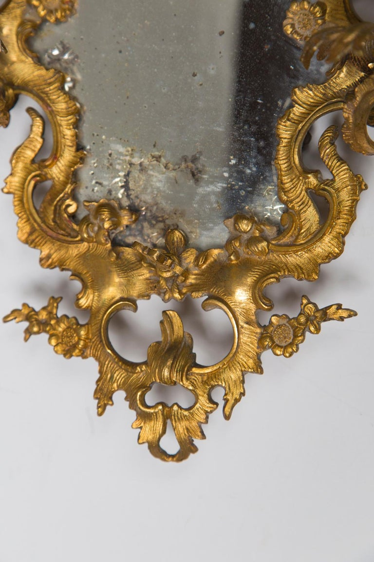 Pair of Gilt Medal Mirror/Sconces In Good Condition For Sale In Woodbury, CT
