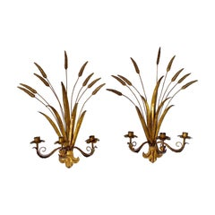 Pair of Gilt Toleware Wheat Sheaf Wall Sconce