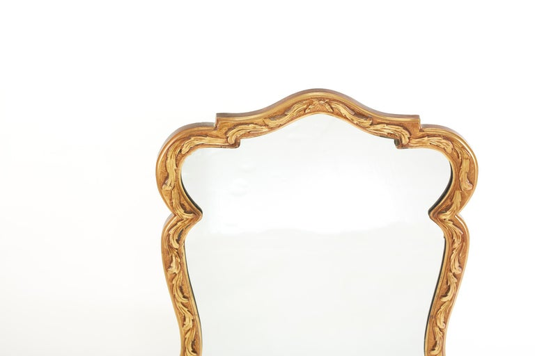 Italian Pair Gilt Wood Framed Beveled Wall Mirror For Sale