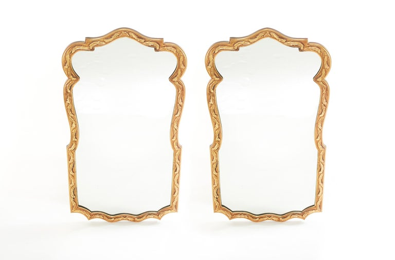 Pair Gilt Wood Framed Beveled Wall Mirror For Sale 2