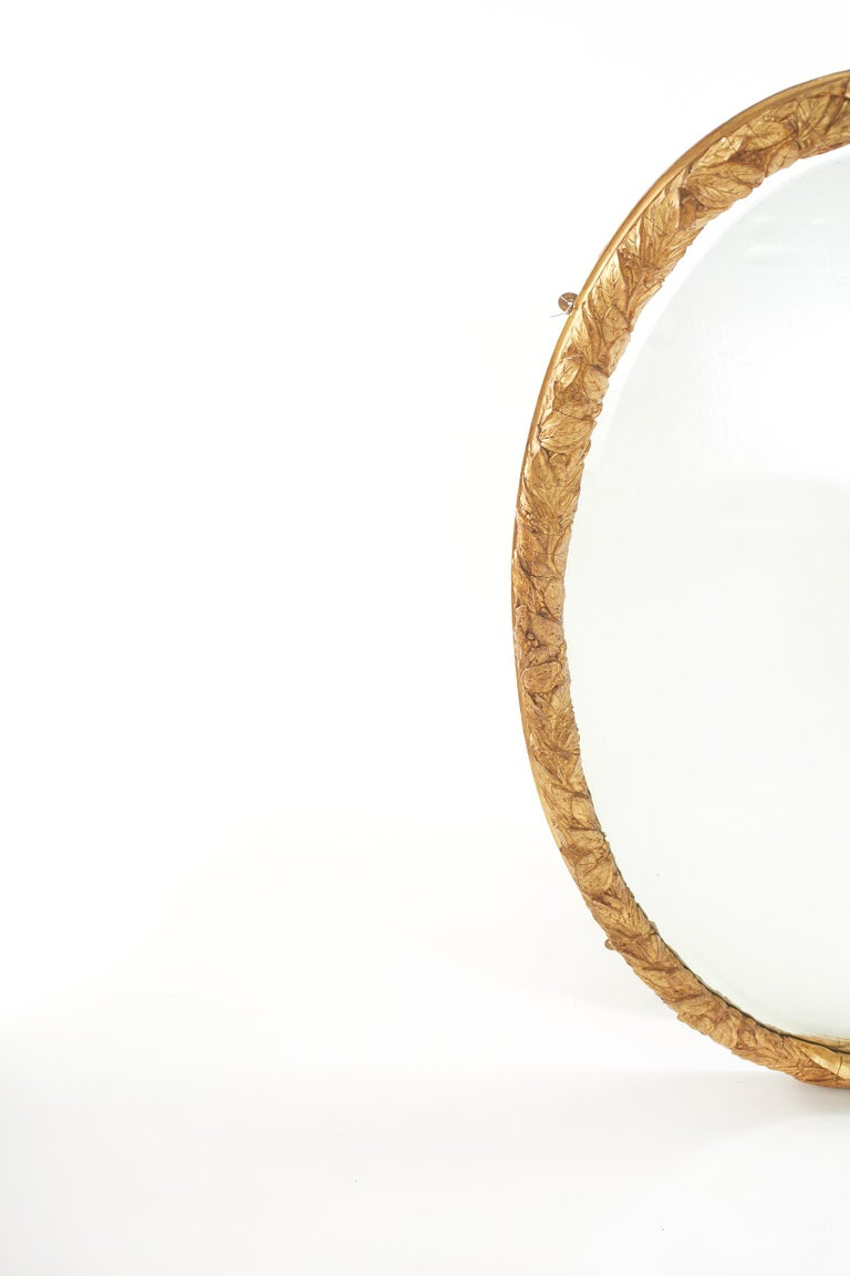 Pair Gilt Wood Framed Beveled Wall Mirror For Sale 4