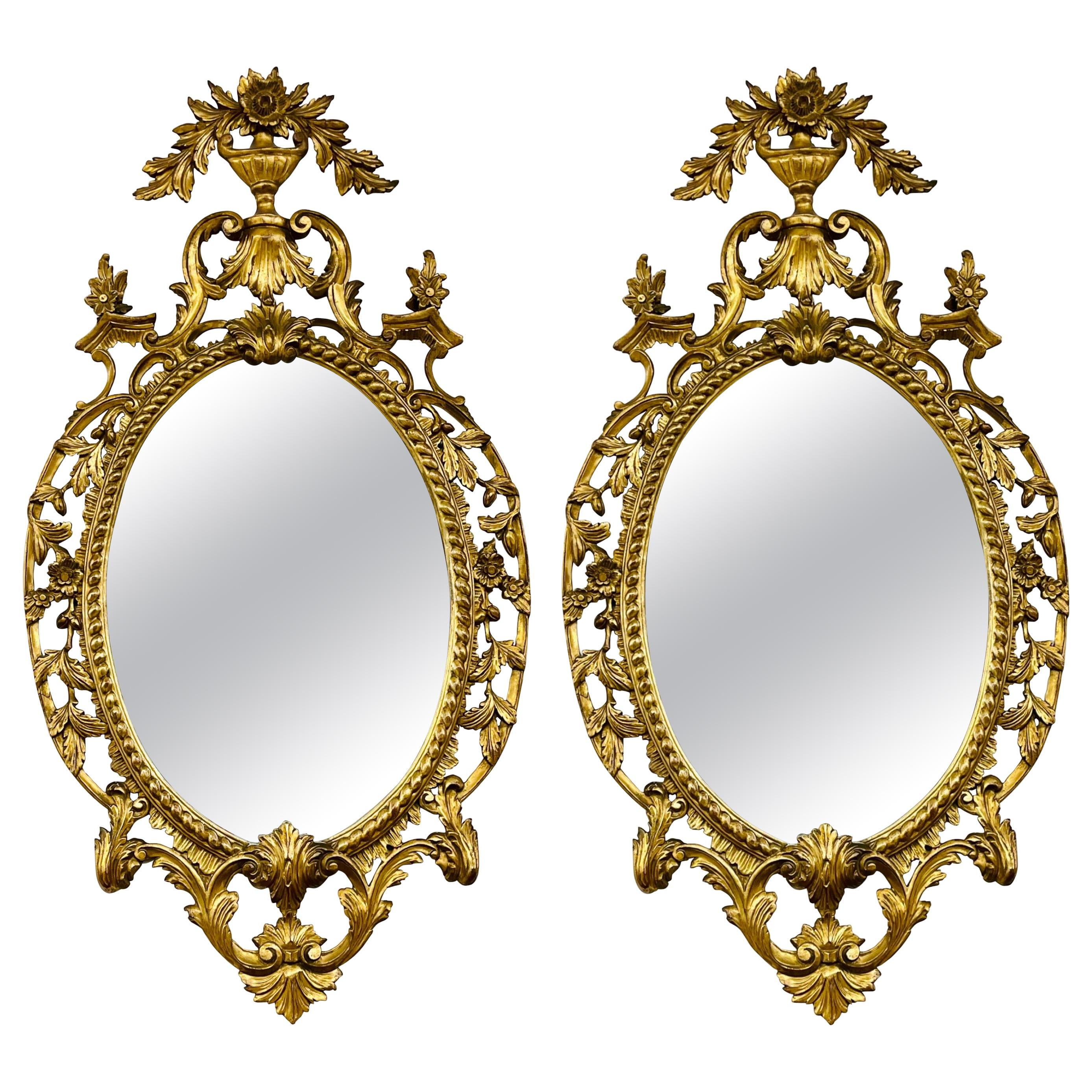 Pair Gilt Wood Wall or Console Mirrors