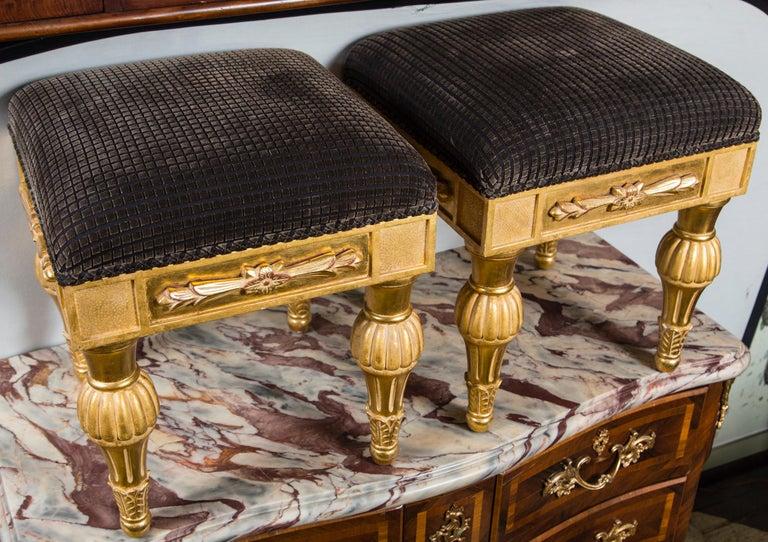 Wood Pair Giltwood Footstools, by J. Robert Scott For Sale