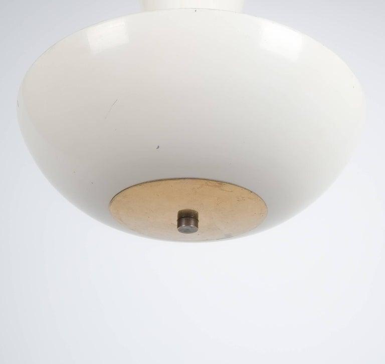Enameled Pair Gino Sarfatti Arteluce 3003 Ceiling Lamp or Semi Flush Mount, Italy, 1950 For Sale