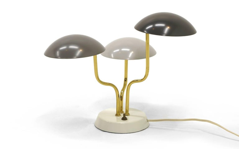 Mid-Century Modern Pair of Gino Sarfatti for Arteluce Three Shade Table Lamp in Shades of Gray For Sale