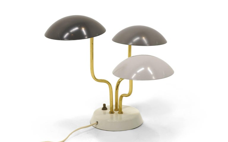 Mid-20th Century Pair of Gino Sarfatti for Arteluce Three Shade Table Lamp in Shades of Gray For Sale