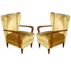 Pair Gio Ponti 1930s Italian High Back Armchairs, Original Gold Yellow Velvet