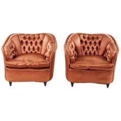 Pair Gio Ponti Silk Lounge Chairs