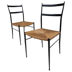 Pair of Superlegga Style Chairs, Metal Black Enameled Finish, style of Gio Ponti
