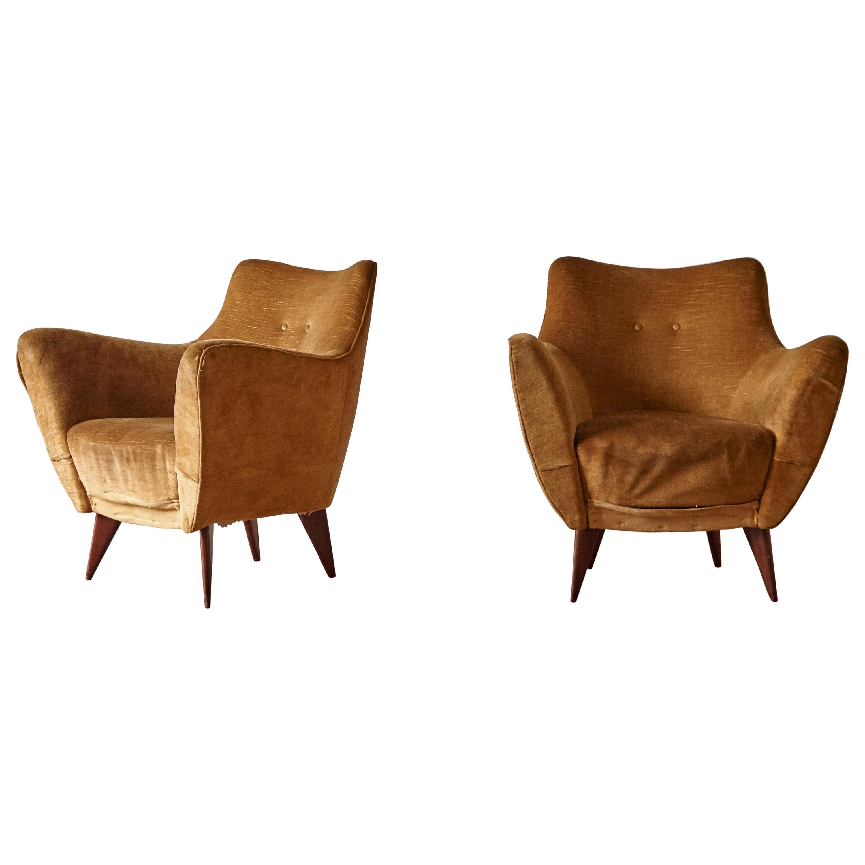 Pair Giulia Veronesi Perla Armchairs, ISA Bergamo, Italy, 1950s for Reupholstery