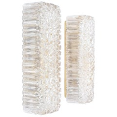 Pair of Glashütte Limburg Textured Glass Wall Lights, Germany, 1960