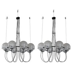 Pair Glass Ball Chandeliers by RAAK, 1960s