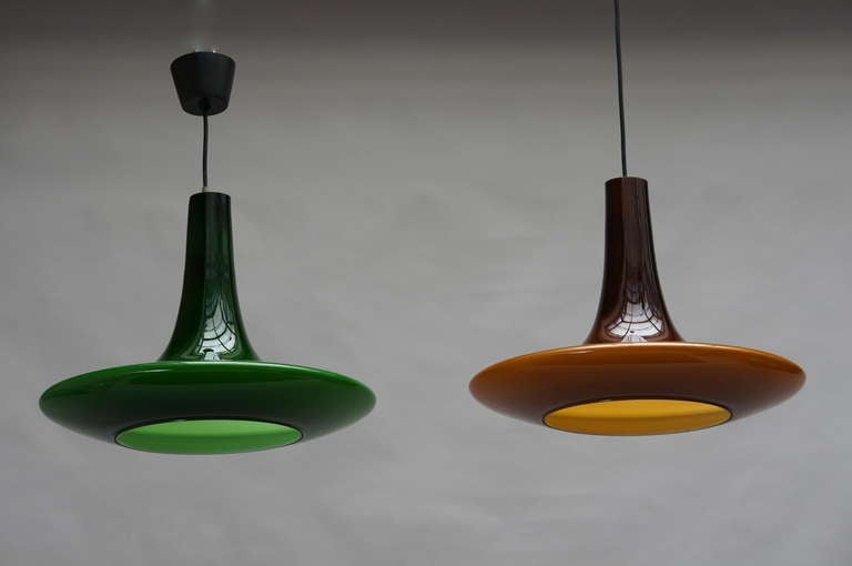 One of Four Glass Pendant Lights by Peil and Putzler, 1970s, Germany For Sale 4