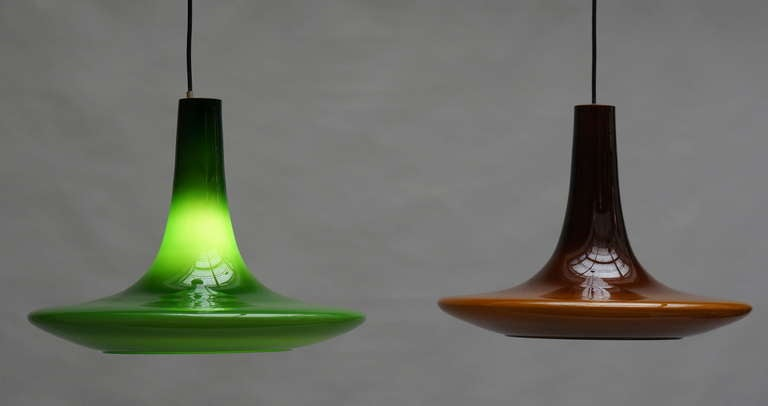 Mid-Century Modern One of Four Glass Pendant Lights by Peil and Putzler, 1970s, Germany For Sale