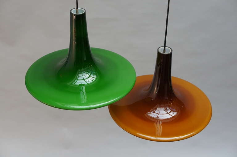 20th Century One of Four Glass Pendant Lights by Peil and Putzler, 1970s, Germany For Sale
