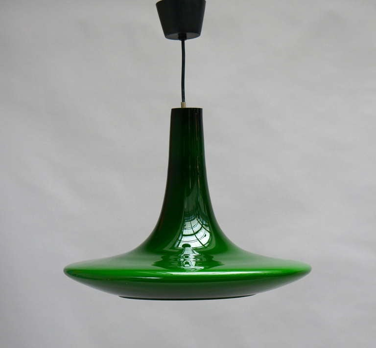 Murano Glass One of Four Glass Pendant Lights by Peil and Putzler, 1970s, Germany For Sale