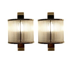 Pair of Thin Glass Rod Sconces With Brass Trim, China, Contemporary