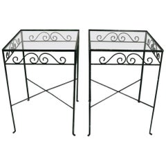 Pair of Glass Top Wrought Iron Patio Garden Tables Attributed to Salterini
