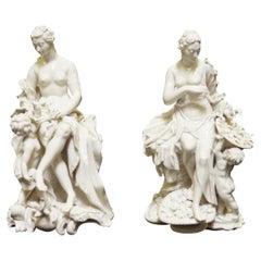 Pair Glazed White Porcelain Figure Group Sculpture
