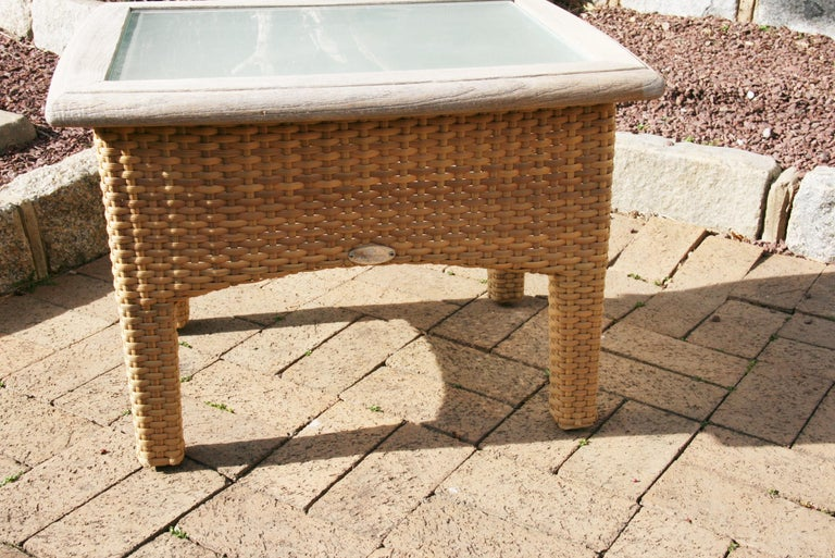 Pair Gloster Weathered Teak and Outdoor Wicker Garden Tables /Indoor Side Tables For Sale 3