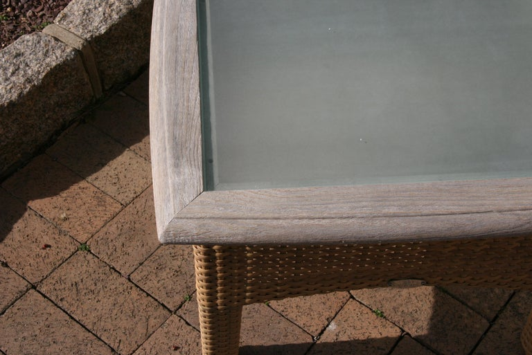 Pair Gloster Weathered Teak and Outdoor Wicker Garden Tables /Indoor Side Tables For Sale 4