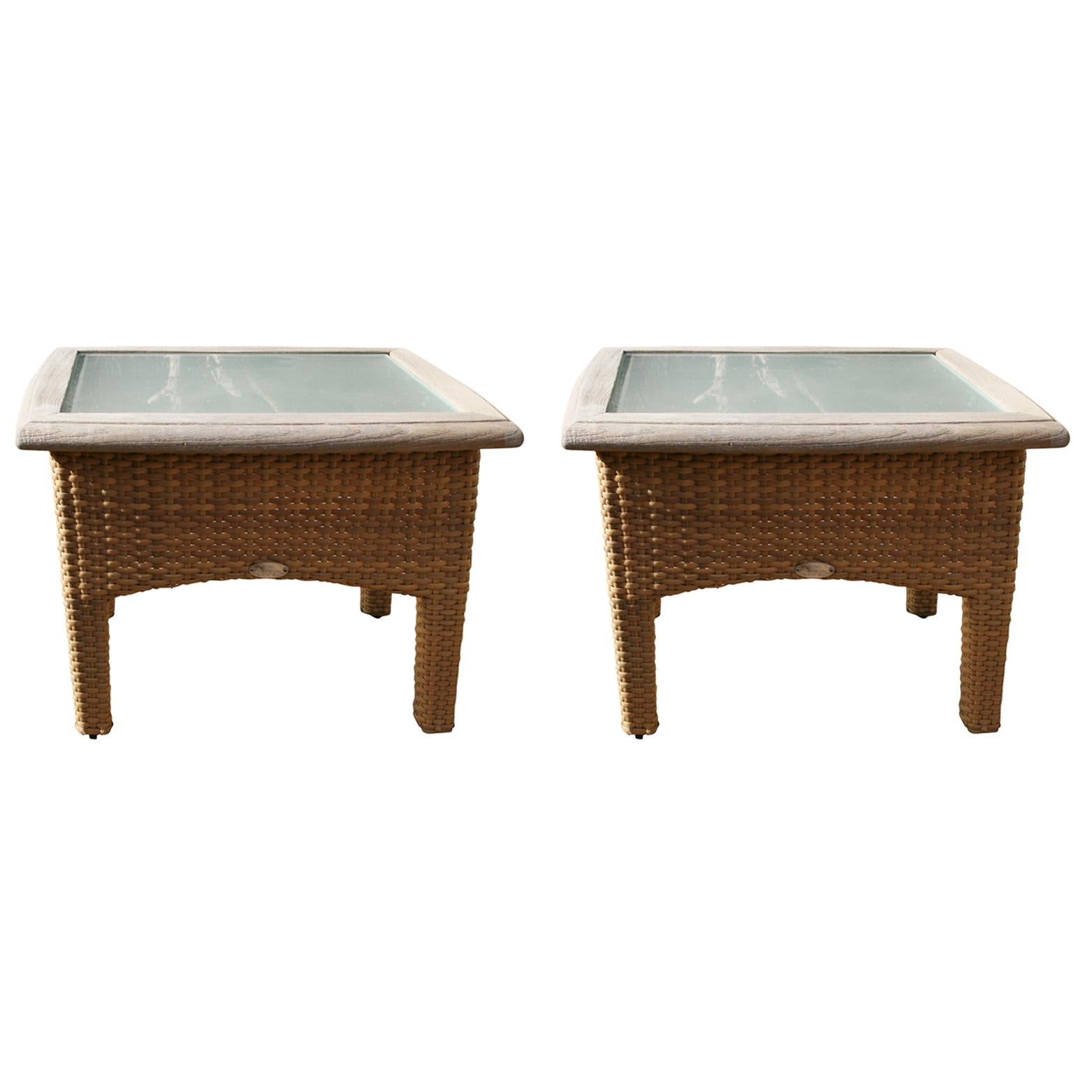 Pair Gloster Weathered Teak and Outdoor Wicker Garden Tables with Frosted Glass