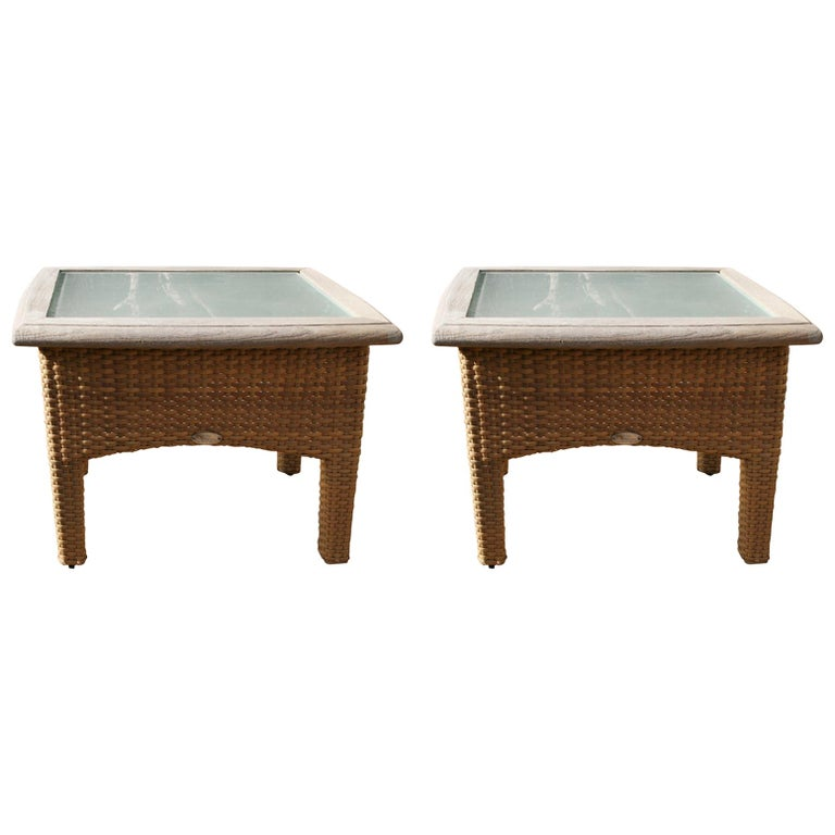 Pair Gloster Weathered Teak and Outdoor Wicker Garden Tables /Indoor Side Tables For Sale