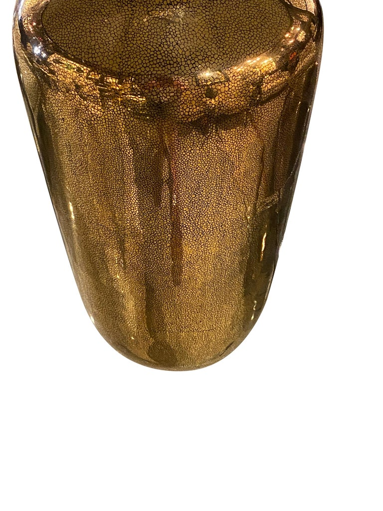 Chinese Gold Faux Shagreen Pair of Lamps with Black Linen Shades, China, Contemporary For Sale