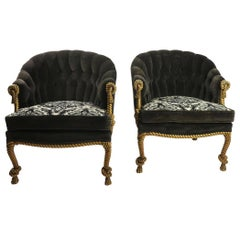 Pair of Gold Gilt Rope Twist Tassel Chairs Louis III Style