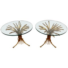 Pair of Gold Gilt Wheat Sheaf and Glass Top Tables