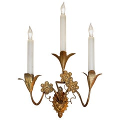 Pair of Gold Leaf Tole Three-Light Italian Wall Sconces, Early 19th Century