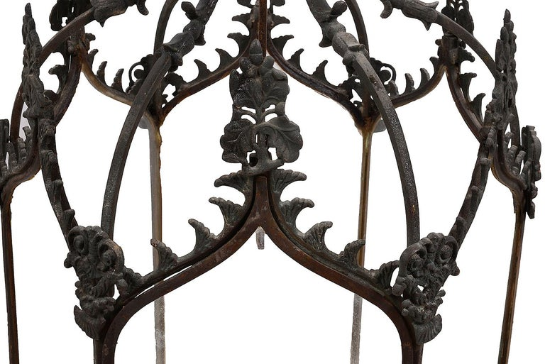 Regency Pair of Gothic Influenced Bronze Hall Lanterns, 19th Century For Sale