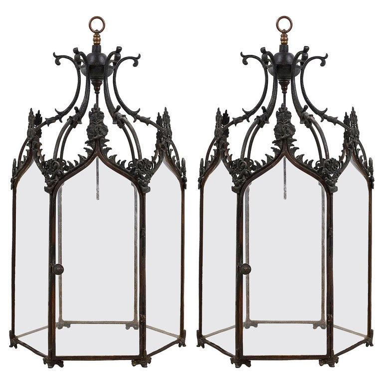 Pair of Gothic Influenced Bronze Hall Lanterns, 19th Century For Sale
