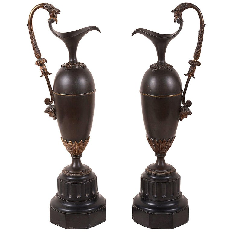Pair of Grand Tour Bronze Ewers, 19th Century For Sale