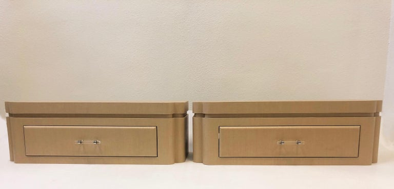 Pair Of Grasscloth Floating Nightstands By Steve Chase For