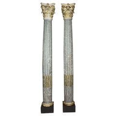 Greco Roman Style Carved Wood & Gesso Carved Faux-Marble and Gilt Columns, Pair