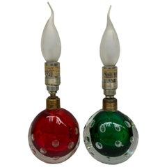 Pair Green & Red Murano Glass Air Bubble Table Lamps Seguso dalla Venezia Venice
