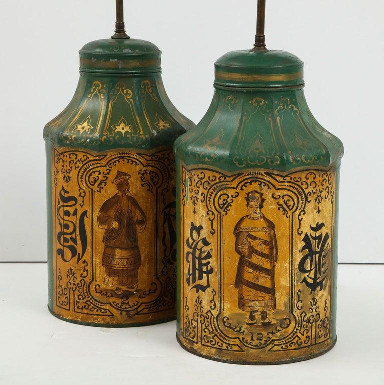 Pair Regency Tole Tea Tin Lamps For Sale 4
