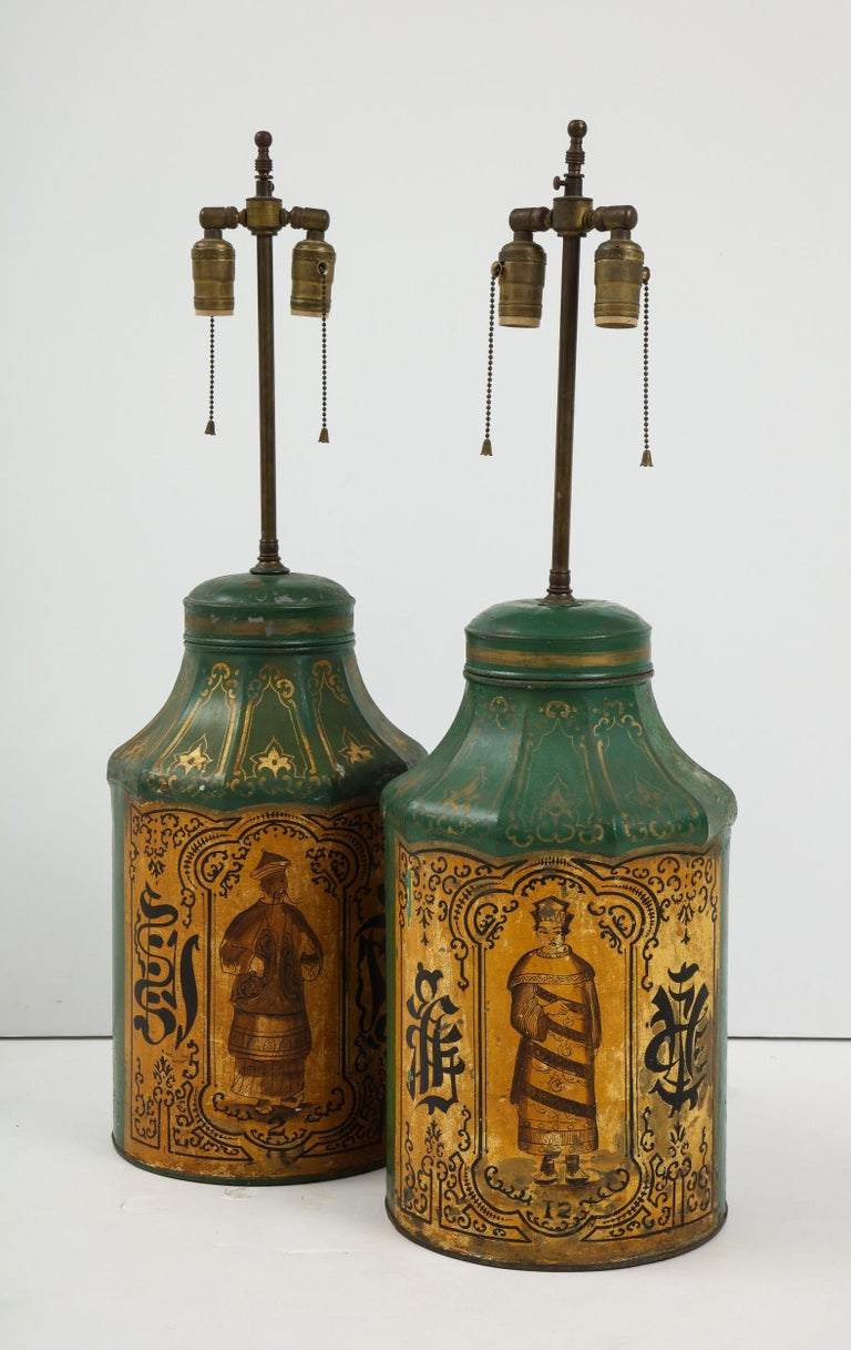 Pair Regency Tole Tea Tin Lamps For Sale 5
