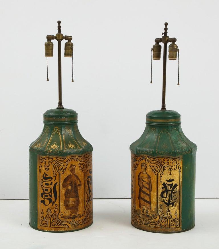 Pair Regency Tole Tea Tin Lamps For Sale 6