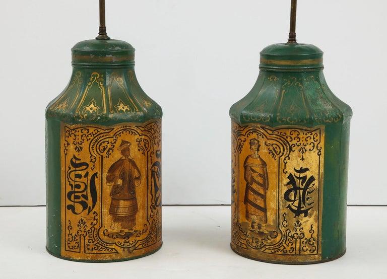 Pair Regency Tole Tea Tin Lamps For Sale 7