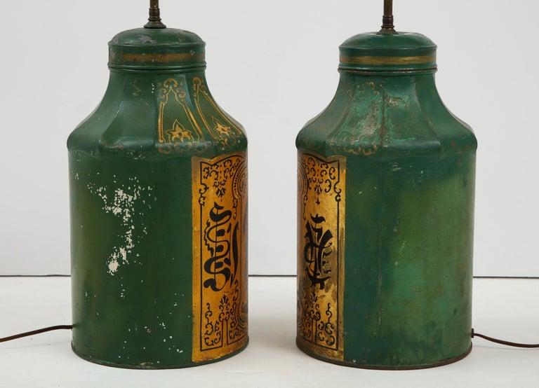 Pair Regency Tole Tea Tin Lamps For Sale 8