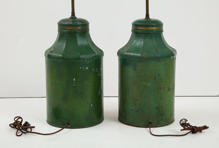 Pair Regency Tole Tea Tin Lamps For Sale 9