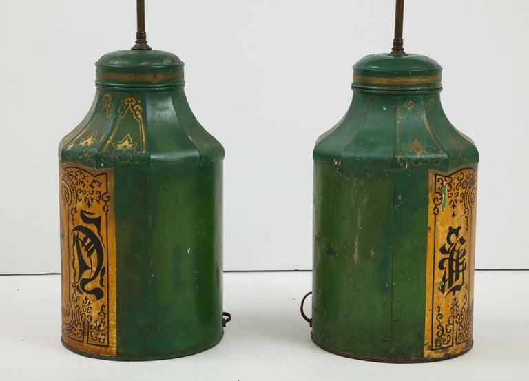 Pair Regency Tole Tea Tin Lamps For Sale 10