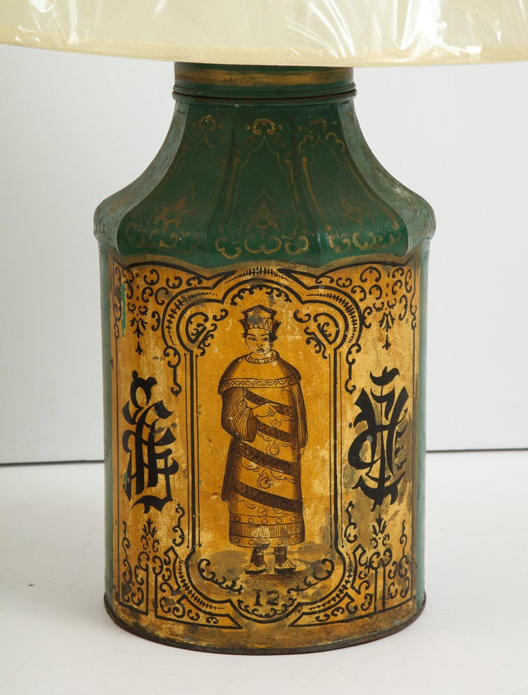 Chinoiserie Pair Regency Tole Tea Tin Lamps For Sale