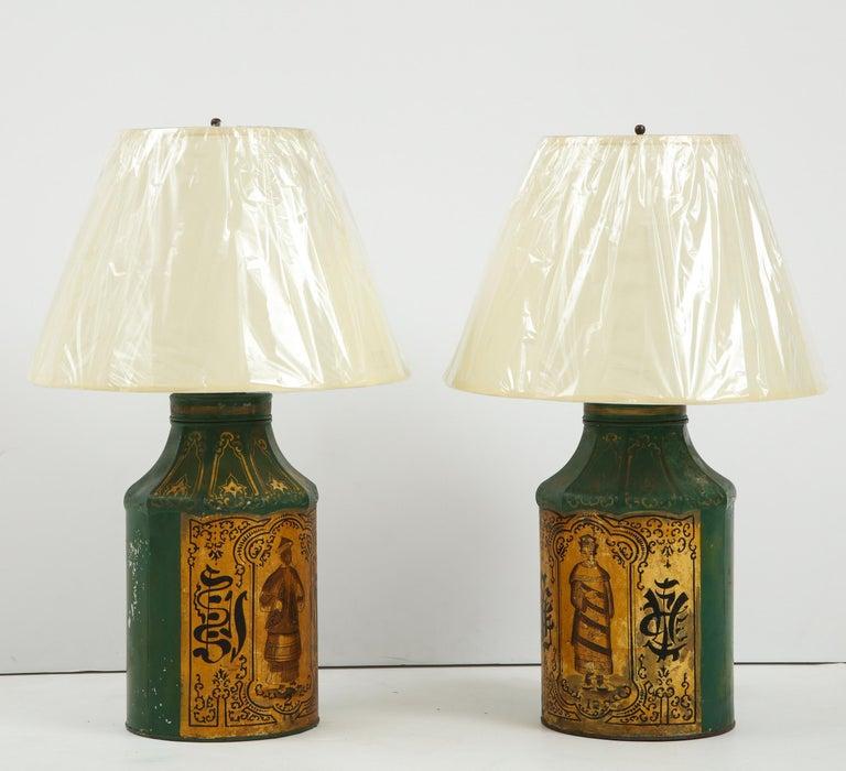 Japanned Pair Regency Tole Tea Tin Lamps For Sale