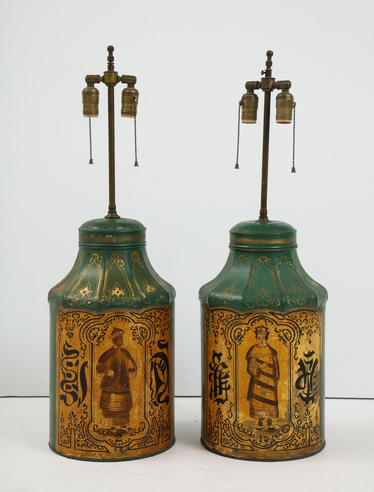 Pair Regency Tole Tea Tin Lamps In Good Condition For Sale In New York, NY