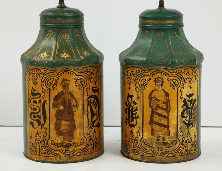 19th Century Pair Regency Tole Tea Tin Lamps For Sale