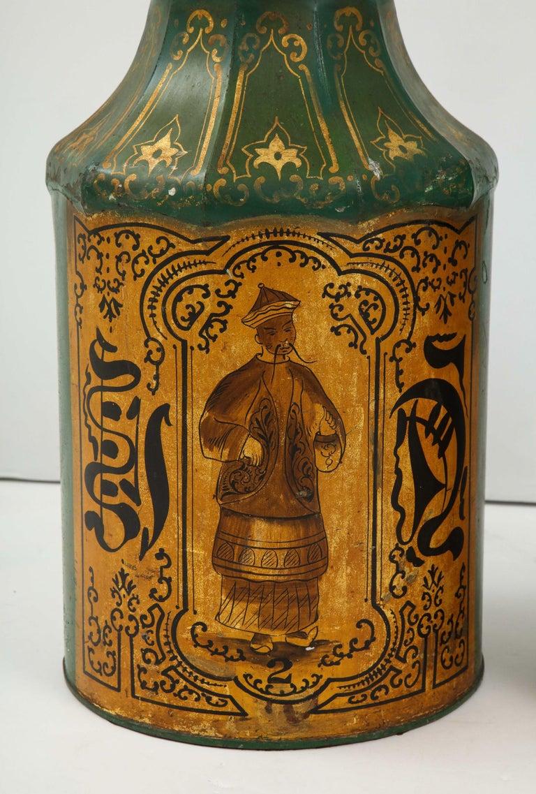Pair Regency Tole Tea Tin Lamps For Sale 1